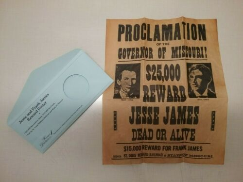 Jesse & Frank James Wanted Poster, Western, Outlaw, Old West -Antiqued Parchment