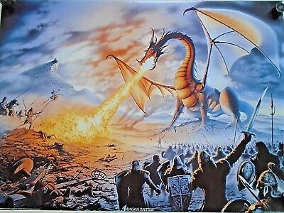 """Dragon Battle #SM0046 - Fantasy art - Orig. poster in Exc.+ new cond. / 25 x 35"""""""