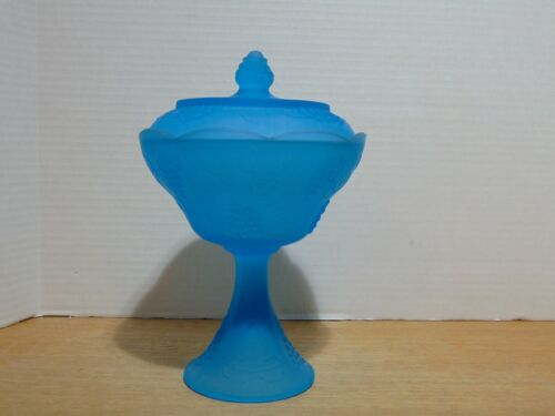 Indiana Glass Harvest Grape Frosted Satin Blue Compote With Lid