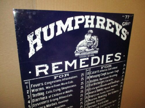 HUMPHREYS REMEDIES -BIG Tin Sign for Cabinet Door or Wall- OINTMENT 25 & 50 Cent