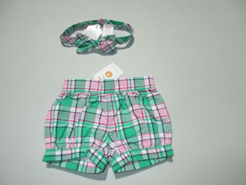 Gymboree Spring Vacation Plaid Diaper Cover Shorts Headband Lot 3-6 Month NWT