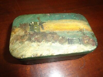 Old painted Tin Box of Windmill Scene