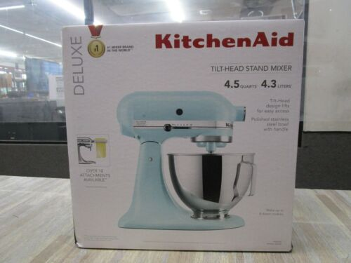 KitchenAid KSM97MI Deluxe 4.5 Quart Tilt-Head Stand Mixer Mineral Water New Seal