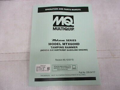 Mq Multiquip Mtx60hd Rammer Tamper Compactor Parts Manual Operation Honda Tampin