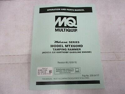 Mq Multiquip Mtx60hd Rammer Tamper Compactor Parts Manual Operation Honda Tampin