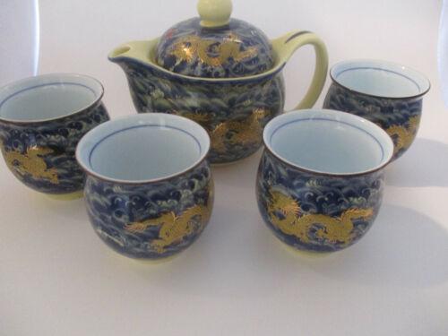 JINGDEZHEN Porcelain Chinese Dragon Teapot w 4 Double-Wall Cups Tea Set Pearl