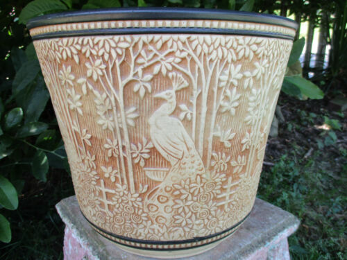 """AMAZING LARGE WELLER CLINTON IVORY PEACOCK PLANTER 12"""" DIAMETER EARLY TEENS RARE"""