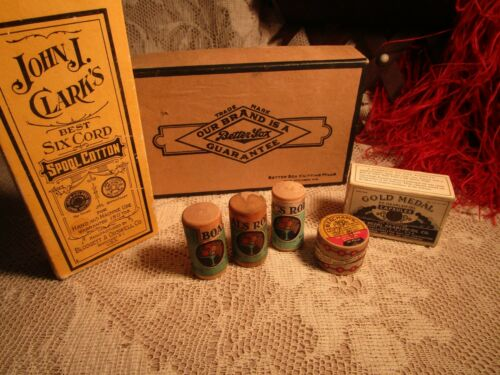 ANTIQUE 7 ADVERTISING BOXES 5 ARE MEDICINE  MEDICAL BOXES