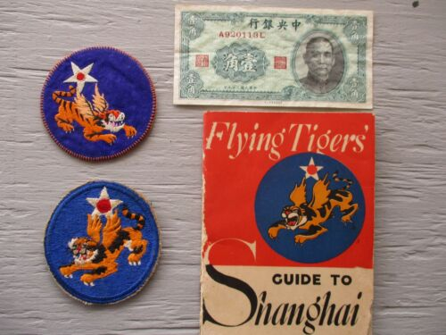 U.S. 14th Air Force Flying Tigers Patch and Paper Grouping
