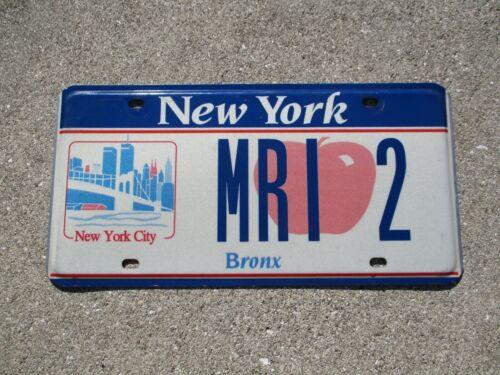 New York City  Bronx license plate #  MRI  2