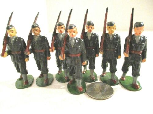 Rare Vintage TIMPO WWII American GI Lead Soldiers Marching 7 pc Lot
