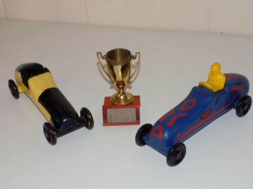 Vintage 1960s Pinewood Derby Race Cars With Trophy