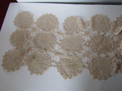 Vintage Hand Crocheted Beige Medallion Lace Table Runner