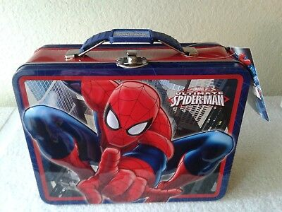 "Marvel Ultimate Spiderman - 3D Embossed Red Tin Carry All, Lunch Box 7.50"" x 6"""