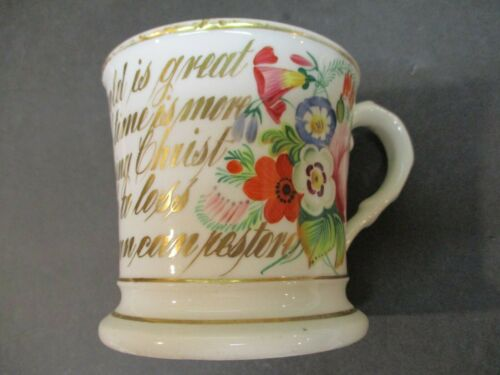 Antique Porcelain Mug Hand Painted Flowers & Motto Written In Gold Letters #1