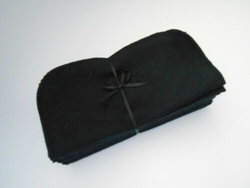 """Cloth Wipes 20 Flannel 8"""" Black Reusable TP Baby Family Tissue Napkin 1 or 2 Ply"""