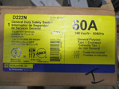 Square D D222n 60 Amp 240 Volt Fusible Nema 1 Disconnect F Series- New