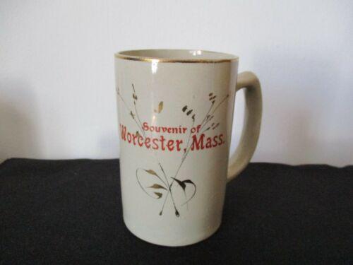 Circa 1910 Souvenir Stoneware Mug New Brighton Pottery Worcester Massachusetts