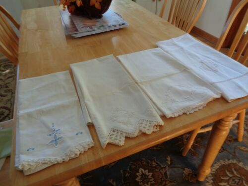 VINTAGE LOT OF 4 ECRU LACE,CROCHET, EMBROIDERY PILLOW CASES