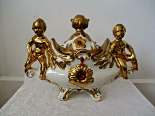 Antique/Vintage Italian Covered Tureen With Gold Cherub Handles & Red Stones