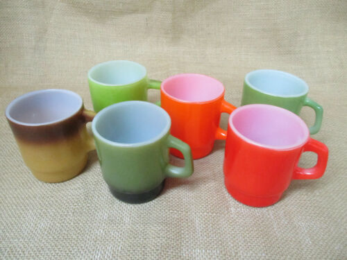 """FIRE KING STACKING MUGS -  6 """"D"""" HANDLE -  COLORS   (B"""