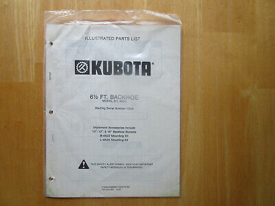 Kubota 6 12 Ft. Backhoe Model Bl 4520 Illustrated Parts List Unused