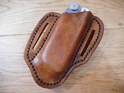 Leatherman Wave rustic leather quick draw sheath. Multi tool