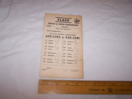 Vintage BARTON for MAYOR Election Results Report Card - Indianapolis Indiana