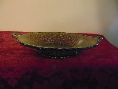 Indiana Glass Green Mount Vernon Bowl Handled Dish Vintage