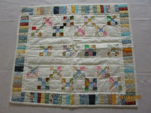 """Vintage Table Doll Quilt, HAND QUILTED, FITS AMERICAN GIRL 18"""" DOLLS, 9 PATCH"""