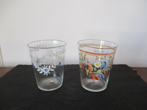 Pair 19th Century Stiegel Type Enamel Painted Flip Glass Glasses Rough Pontil