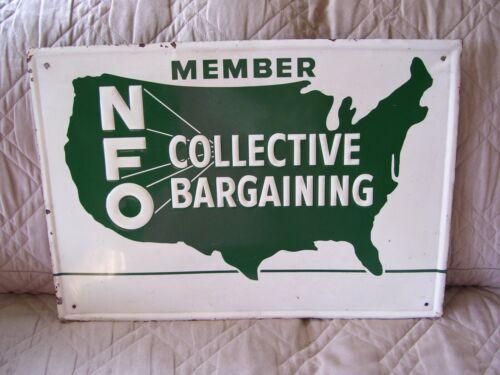 Vintage NFO Collective Bargaining Member Embossed Metal Sign
