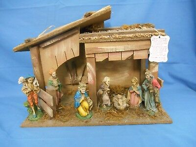 Rare Vtg Italian Nativity Set Oxolite Figures Wood Creche Stable Made In Italy ()