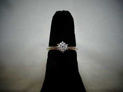 Diamond solitaire ring 14K white gold .33ct
