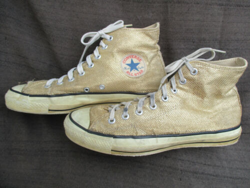 VINTAGE 1980s USA CHUCK TAYLOR CONVERSE ALL STAR GOLD GLITTER SHOES SZ 10