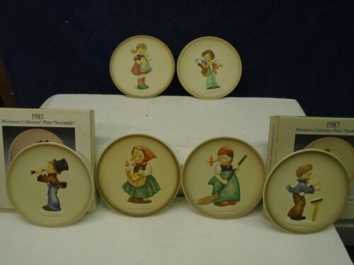 """Hummel lot of 6 mini plates, all in mint condition; two have boxes.  4"""" diameter"""