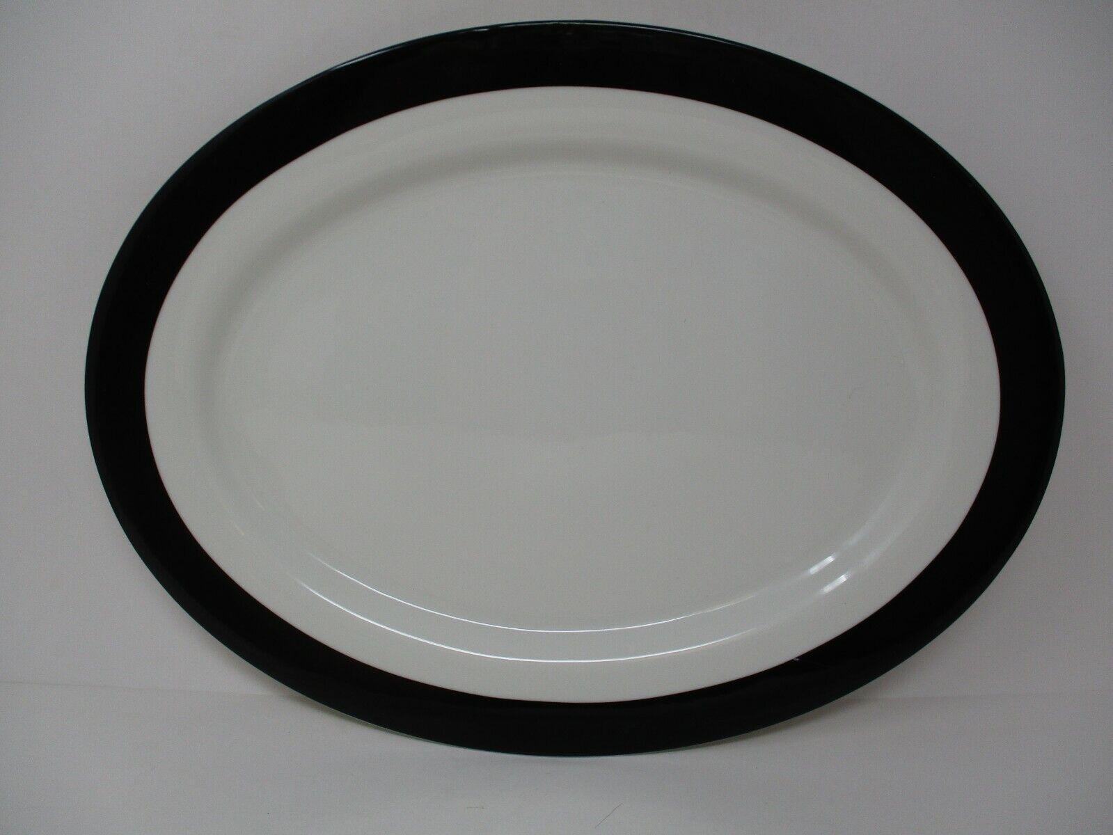 "Martha Stewart Collection 16.75"" Heirloom Oval White & Black Serving Platter"