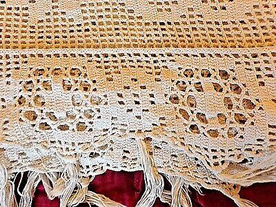 Couvre lit ancien au crochet-coton beige-jeté de canapé-178x180 cm-2 personnes
