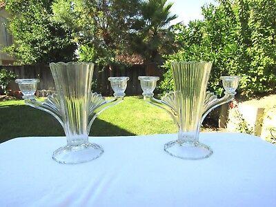 Rare JE-21 Jeannette Glass Two Light Candlestick & Vase Pair Circa 1935-40