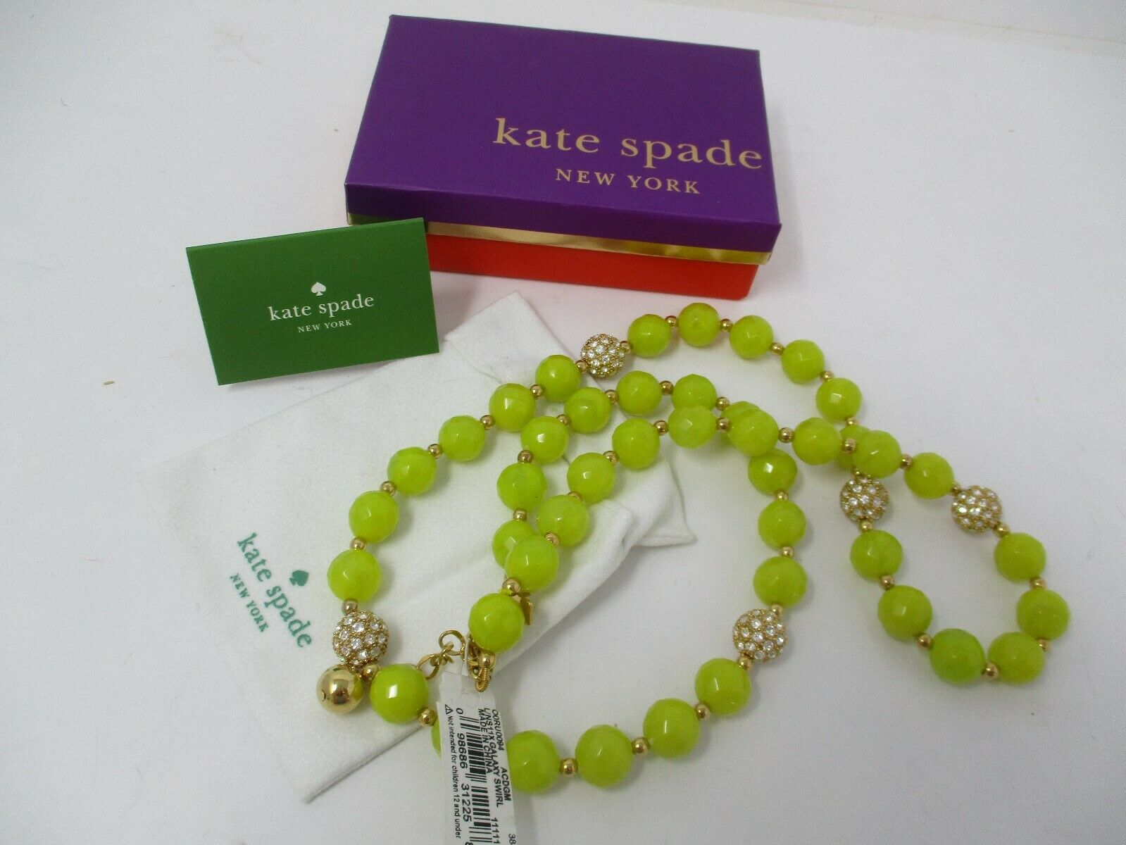 "Kate Spade Yellow Bead Galaxy Swirl Crystal Accent Necklace 30"" New With Tags"
