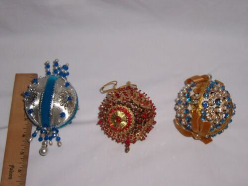 VINTAGE HANDMADE LOT OF 3 LARGE BEADED FAUX PEARL PUSH PIN CHRISTMAS ORNAMENT