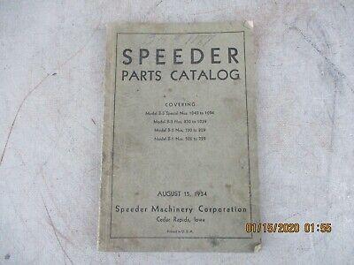 1934 Speeder Parts Catalog Manual Model B-1 To B-3