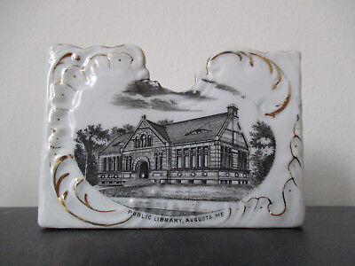 Circa 1910 Souvenir Business Card Holder Public Library Augusta Maine #BP