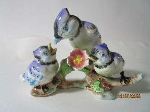 Vintage Porcelain Painted Blue Birds Mother & Chicks Figurine by Chase Japan