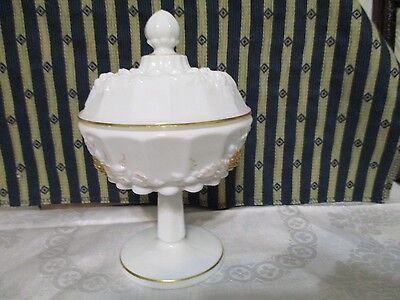 BEAUTIFUL WESTMORELAND HAND PAINTED MILK GLASS CANDY DISH