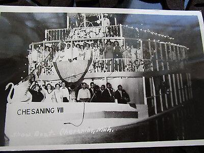 Vtg 1940's Chesaning MI MIchigan Showboat VIII Real Photo Postcard RPPC Unused