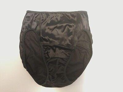 Victoria's Secret Second Skin Satin High Leg Brief Black Scalloped Large Vintage