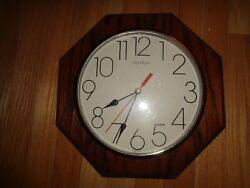 Vintage Verichron Quartz Octogon Wall Clock Wood Frame 13 3/8 - Made in USA