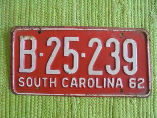 1962 South Carolina License Plate SC 62 Tag B-25-239