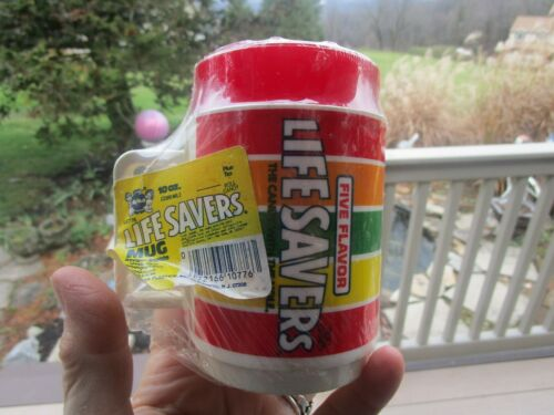 Vintage Deka Plastic Life Savers Coffee Mug Cup Red Cherry Lid NEW SEALED !